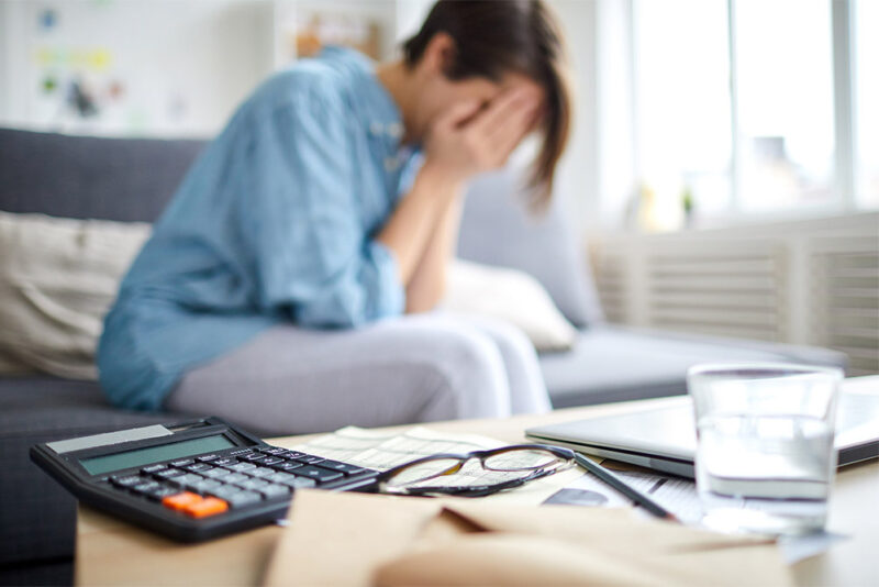 Woman struggling with finances